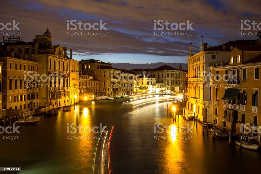 Canal Grande at night, Venice, Italy stock photo