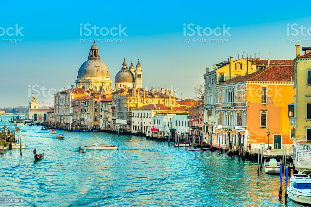 Canal Grande at sunset, Venice. stock photo