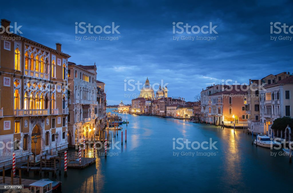 Canal Grande in mystic twilight, Venice, Italy stock photo