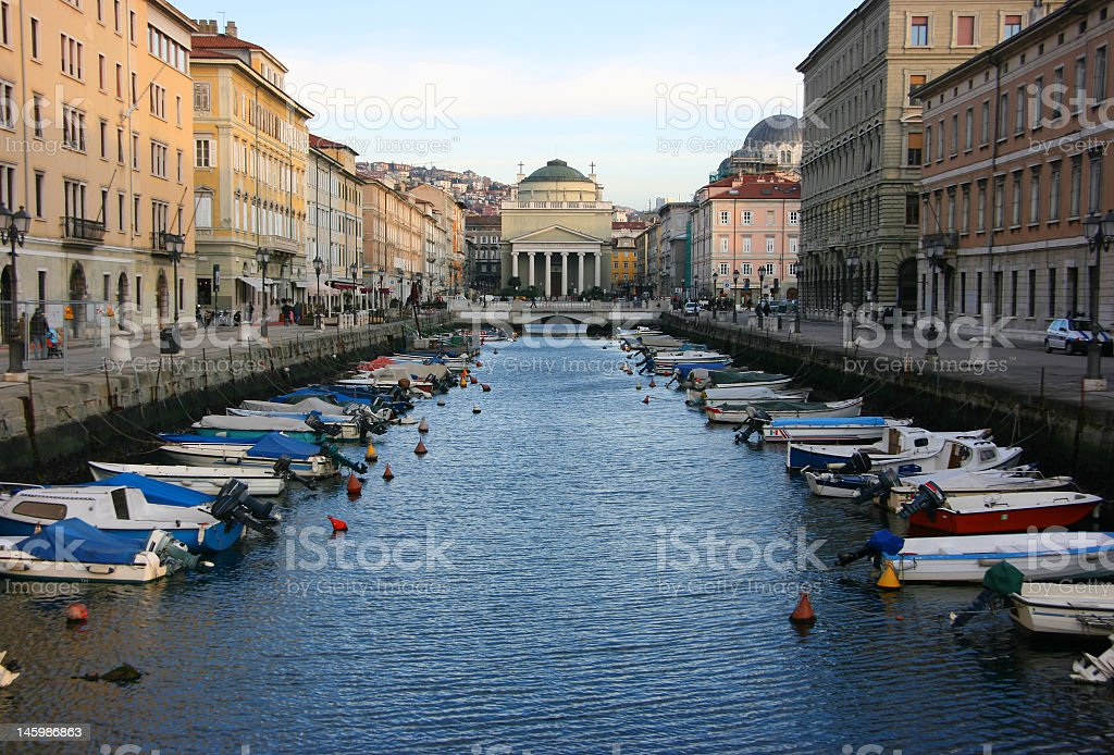 Canal grande in Trieste stock photo