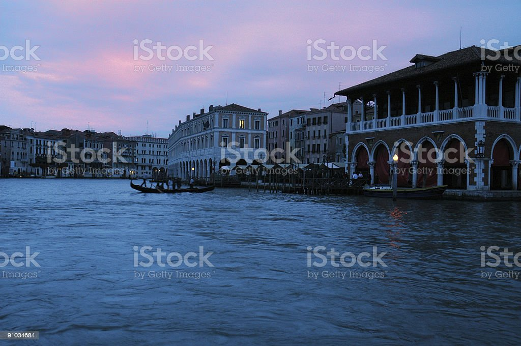 Canal Grande in twilight royalty-free stock photo