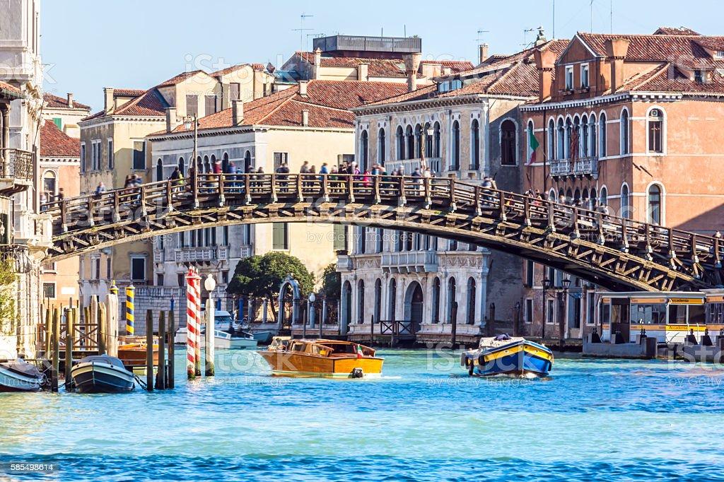 Canal Grande in Venice with Accademia Bridge stock photo