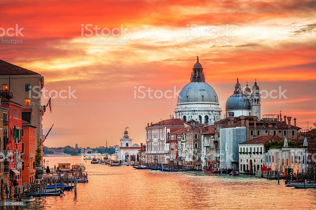 Canal Grande on sunrise, Venice, Italy stock photo