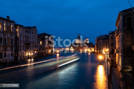 Grand Canal and Santa Maria della Salute in Venice Italy at night. Horizontal composition.