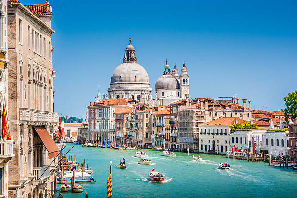 canal grande with basilica di santa maria della salute, venice - della stock pictures, royalty-free photos & images