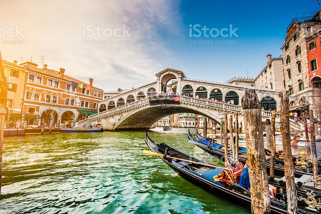 Canal Grande with Rialto Bridge at sunset, Venice, Italy stock photo