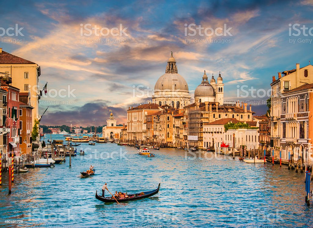 Canal Grande with Santa Maria Della Salute at sunset, Venice stock photo