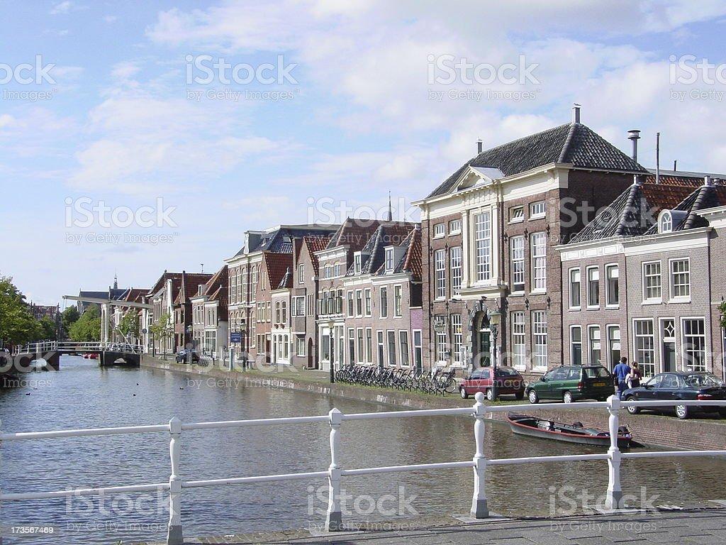 Canal & Houses, Alkmaar, Holland stock photo