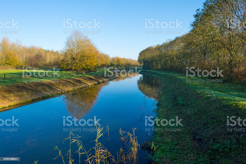 Canal in a rural landscape at sunrise in autumn stock photo
