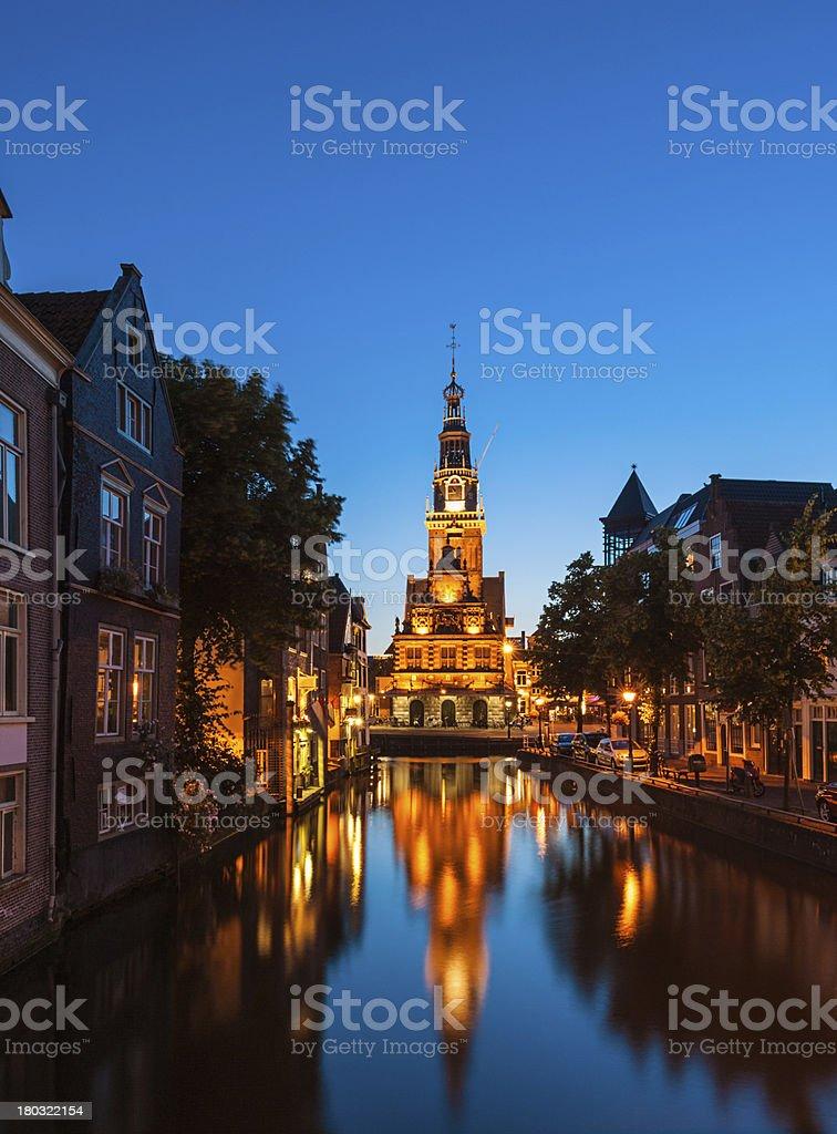 Canal in Alkmaar Netherlands at dusk stock photo