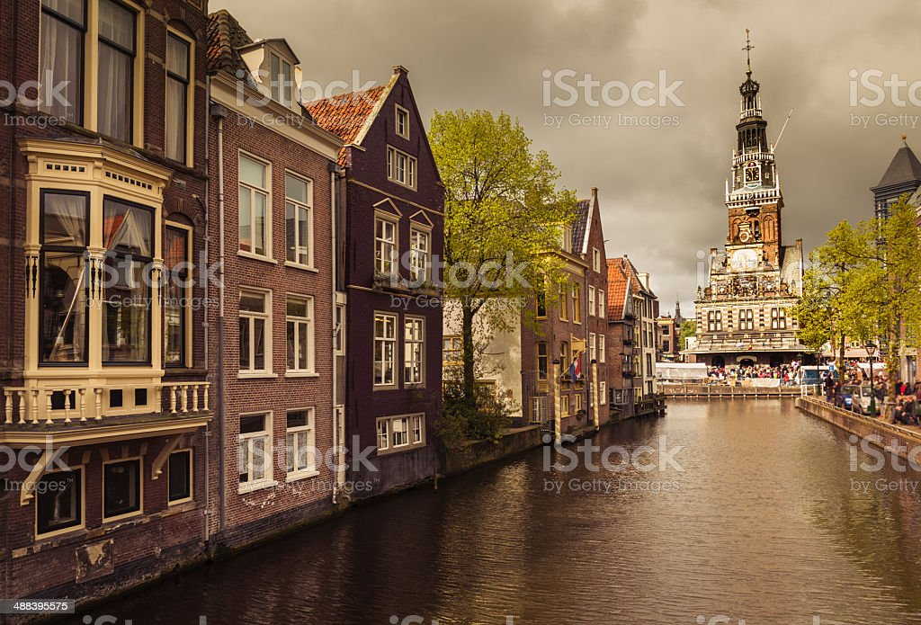 Canal in Alkmaar old town, Netherlands stock photo