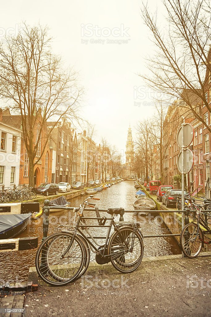 Canal in Amsterdam at sunset royalty-free stock photo