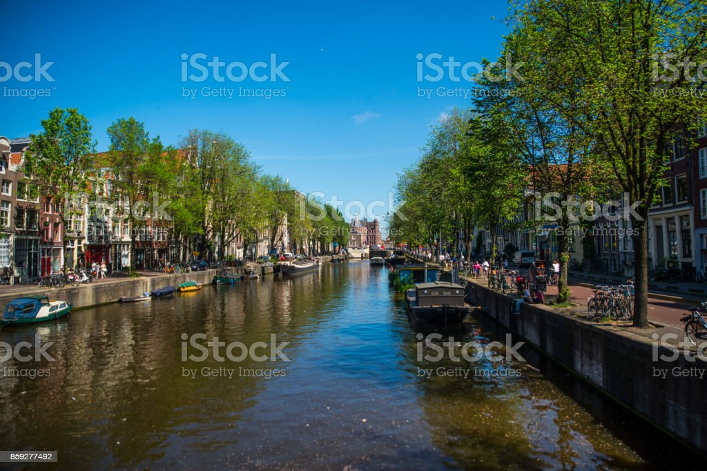 Canal in Amsterdam, Netherlands stock photo