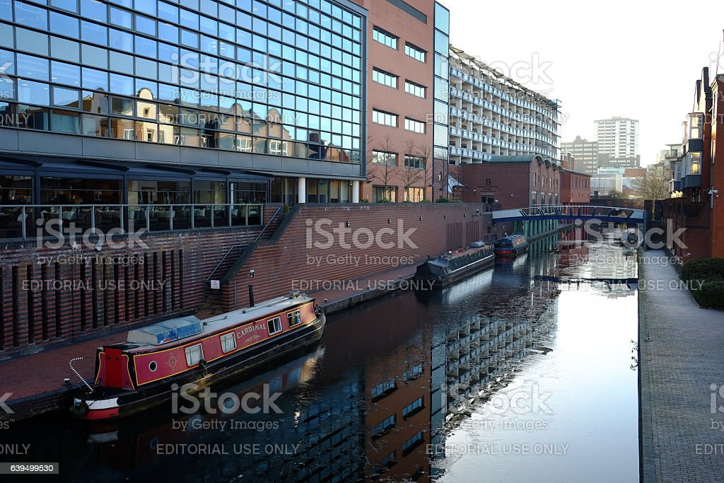 canal in Birmingham city centre stock photo