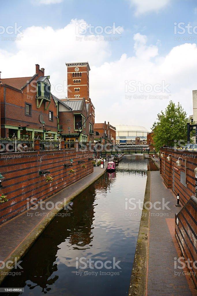 Canal in Birmingham, West Midlands, England, United Kingdom royalty-free stock photo