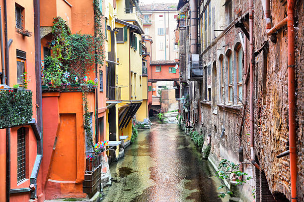 Canal in Bologna stock photo