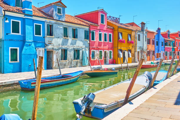 Canal in Burano - Venice stock photo