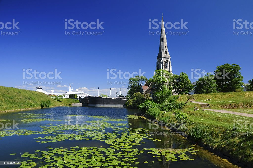 Canal in Copenhagen stock photo
