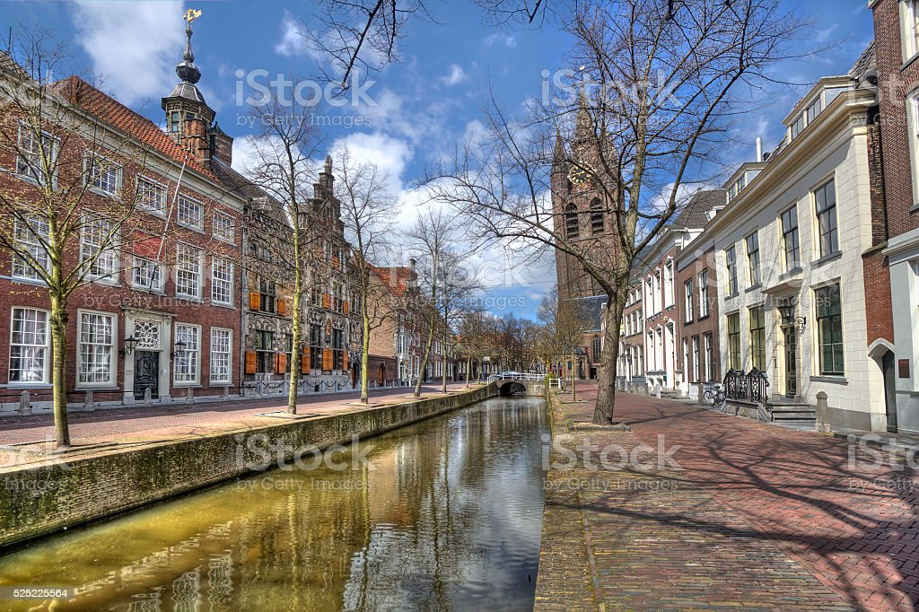 Canal in Delft, Holland stock photo