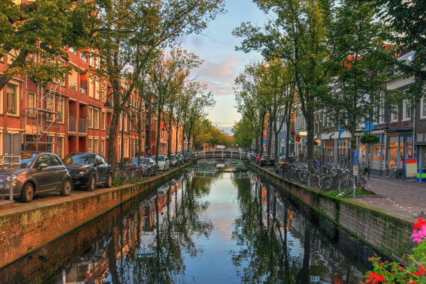 Kanal in Delft, Niederlande – Foto