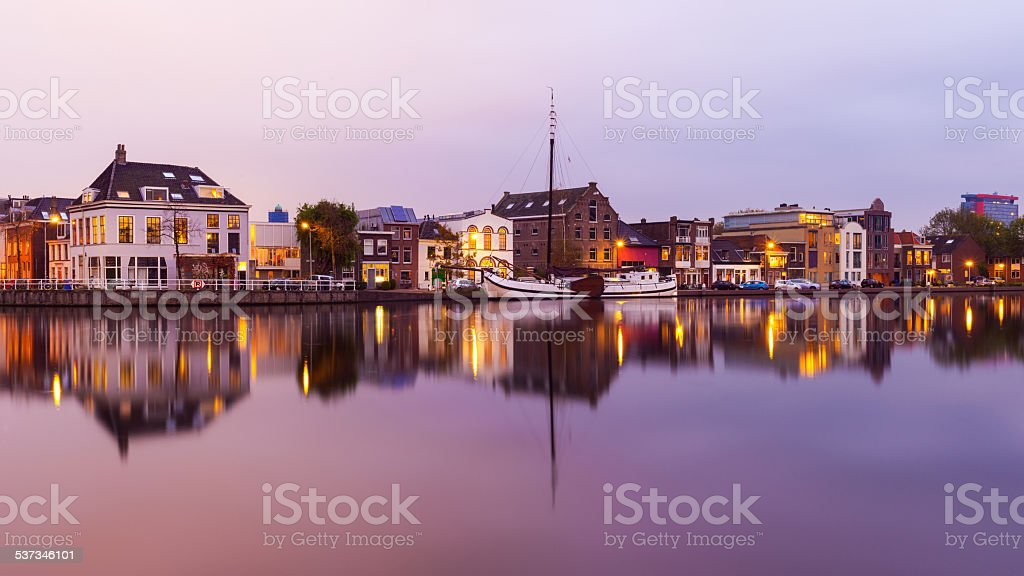 Canal in Delft stock photo