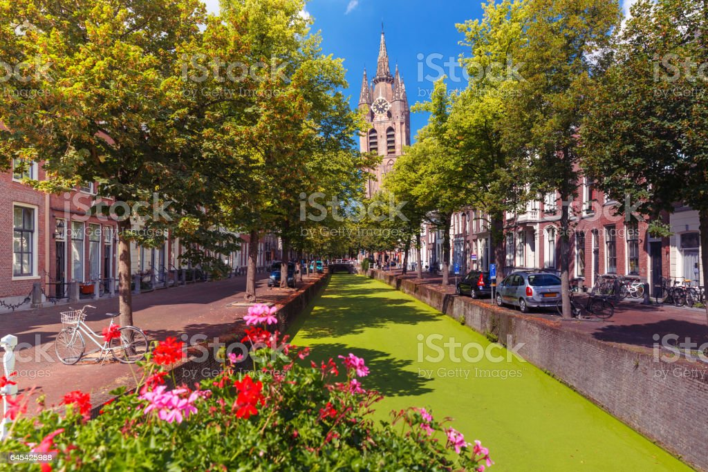 Canal in Delft, South Holland, Netherlands stock photo