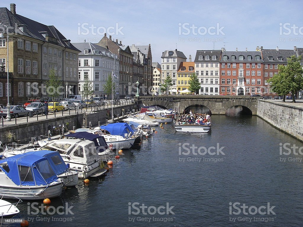 Canal in Downtown Copenhagen royalty-free stock photo