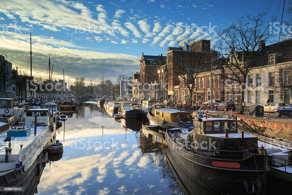 Canal in Groningen stock photo