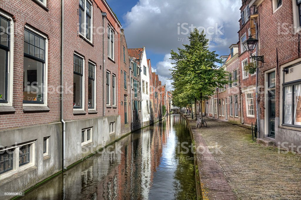 Canal in Holland stock photo