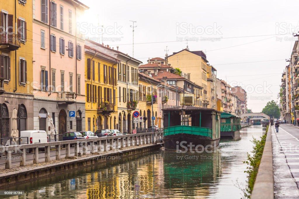 Canal in Milan foto stock royalty-free