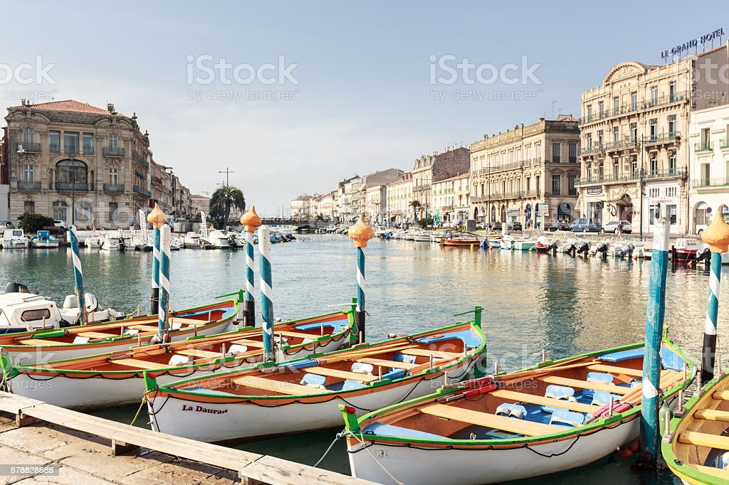 Canal in Sete, Southern France stock photo