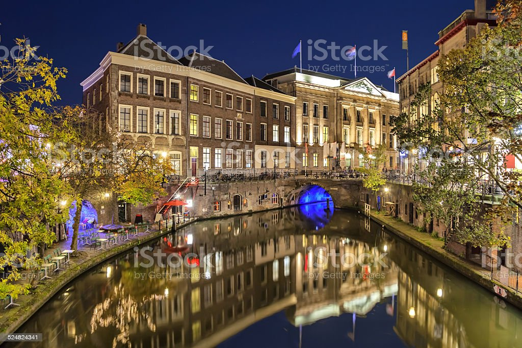 Canal in the historic center of Utrecht in the evening stock photo