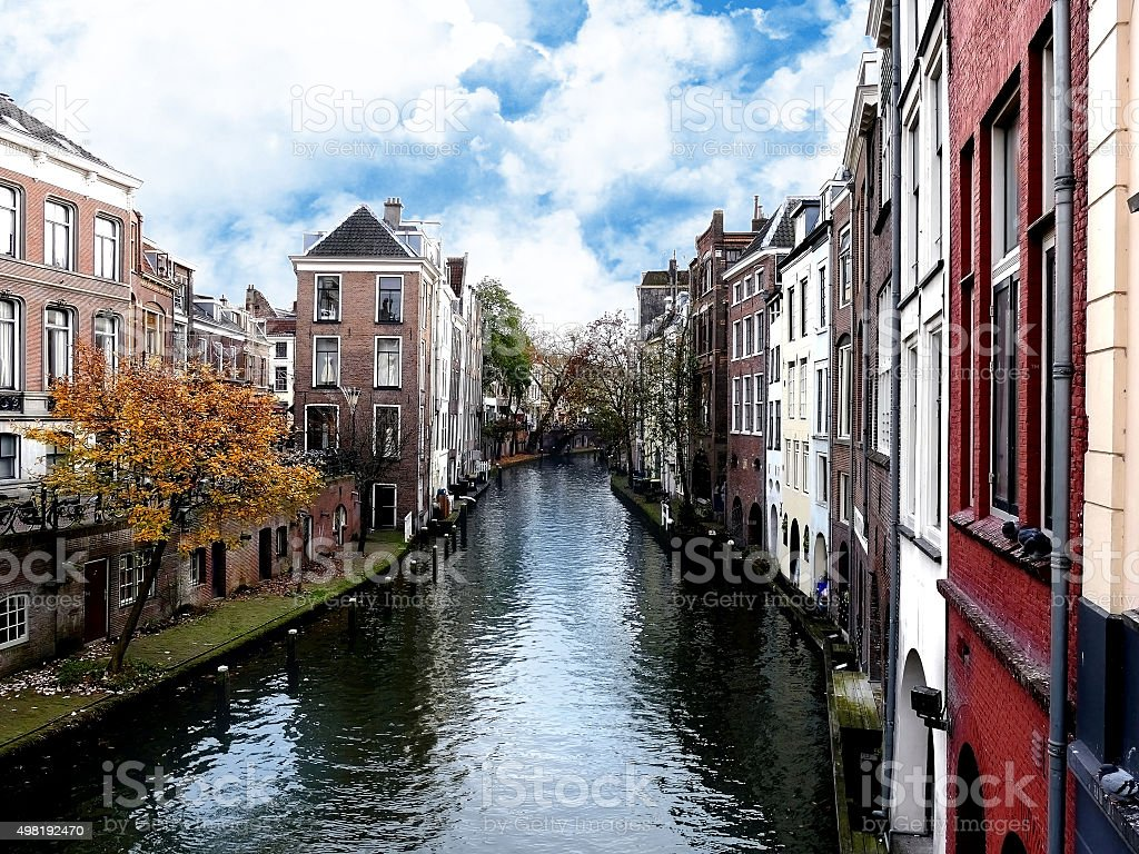 Canal in the historic center of Utrecht, The Netherlands stock photo