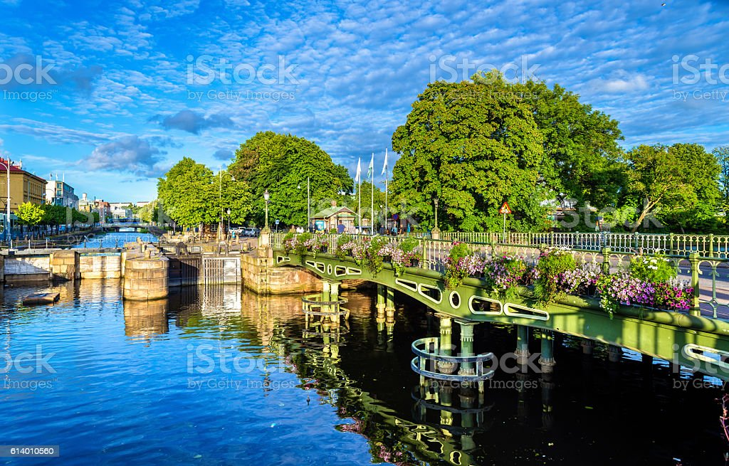 Canal in the historic centre of Gothenburg - Sweden stock photo