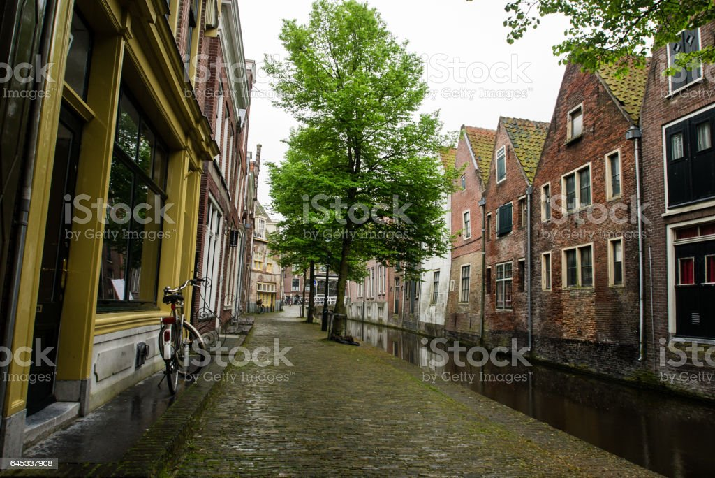 Canal in the old city center of Alkmaar stock photo