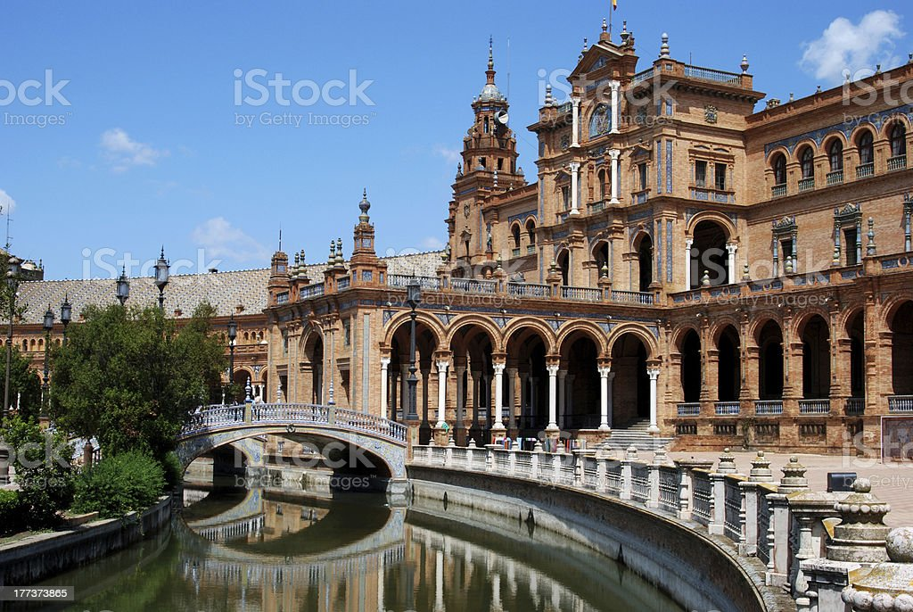 Canal in the Plaza de Espana, Seville, Spain. stock photo
