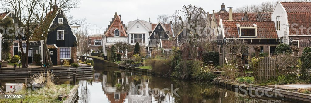 Canal in the small town Edam, the Netherlands stock photo