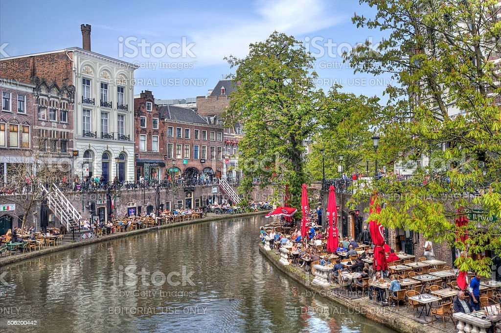Canal in Utrecht, Holland stock photo