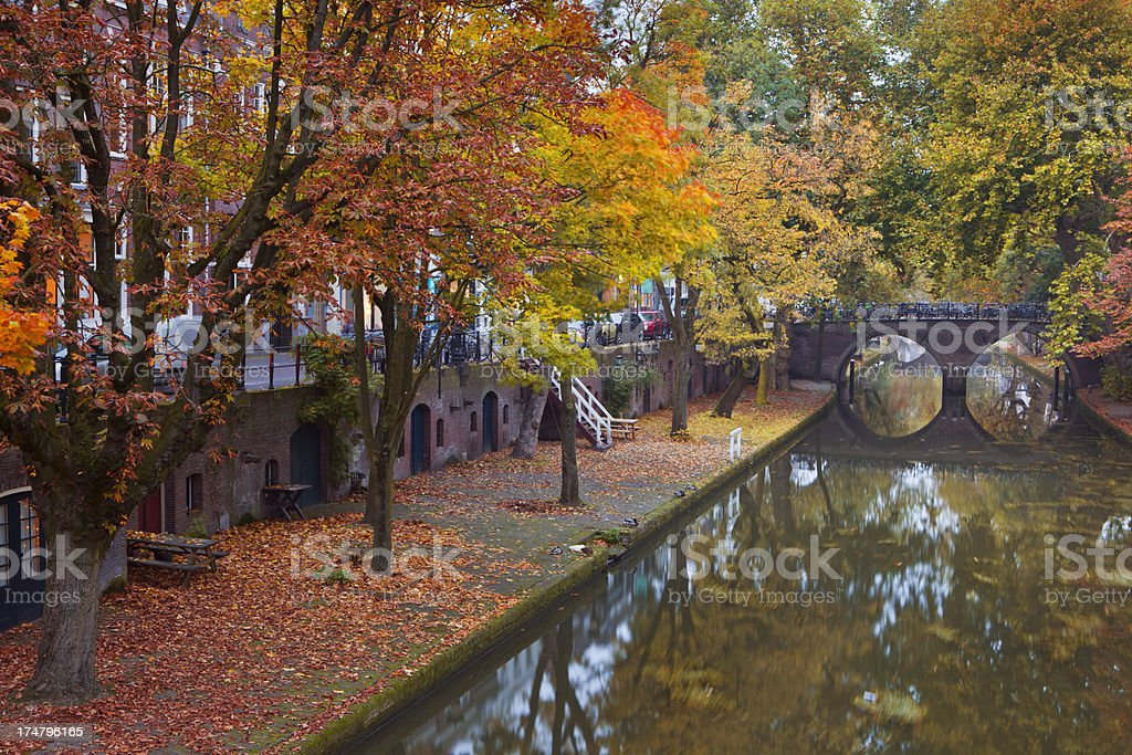 Canal in Utrecht, The Netherlands in autumn stock photo