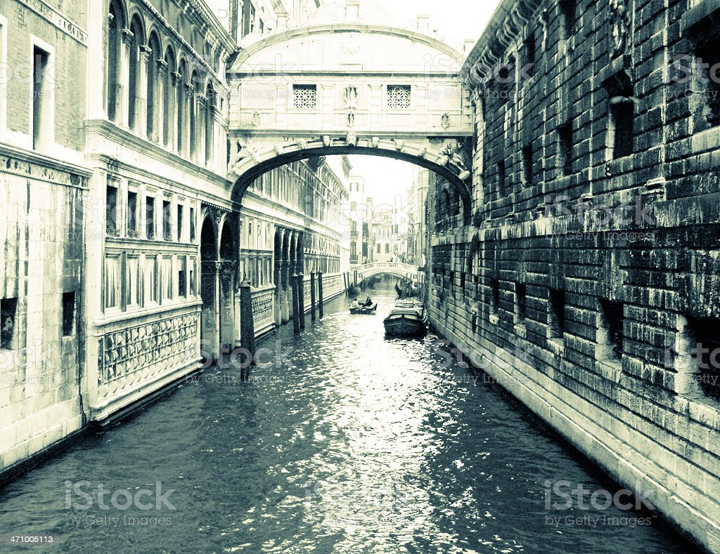 Canal in Venice - Grainy, Black and White royalty-free stock photo