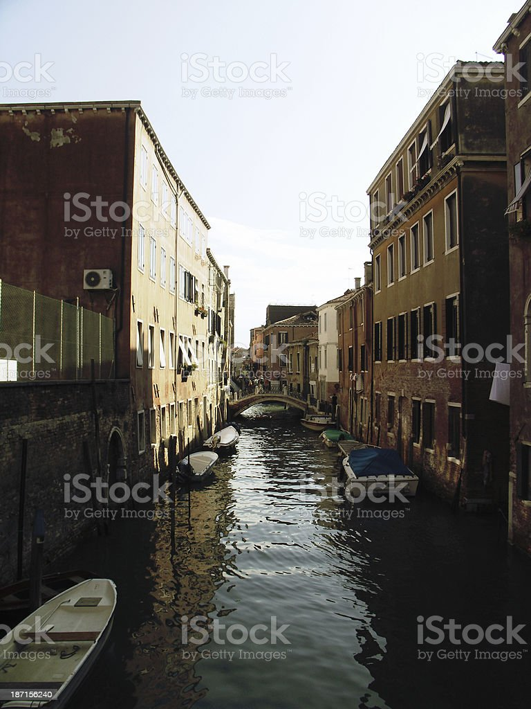 Canal in Venice, Italy with Boats stock photo