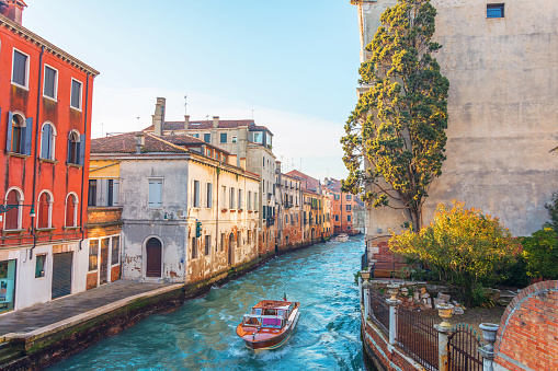 Canal in Venice with a small garden and a tree near the house, on the water a small motor boat.