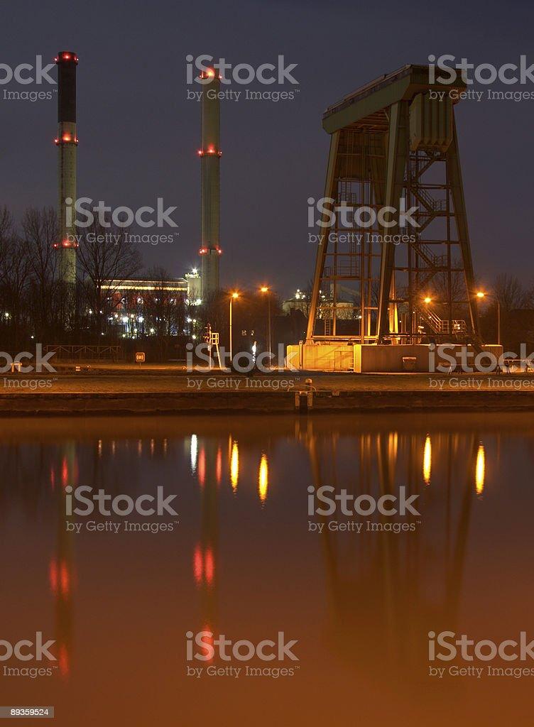 Canal Lock And Aluminium Plant At Night royalty-free stock photo