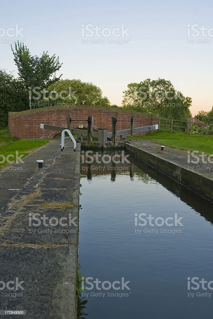 canal lock and bridge stock photo