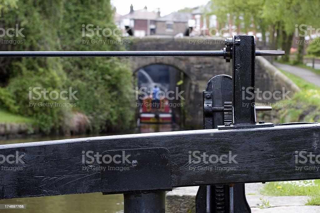 Canal lock gate stock photo