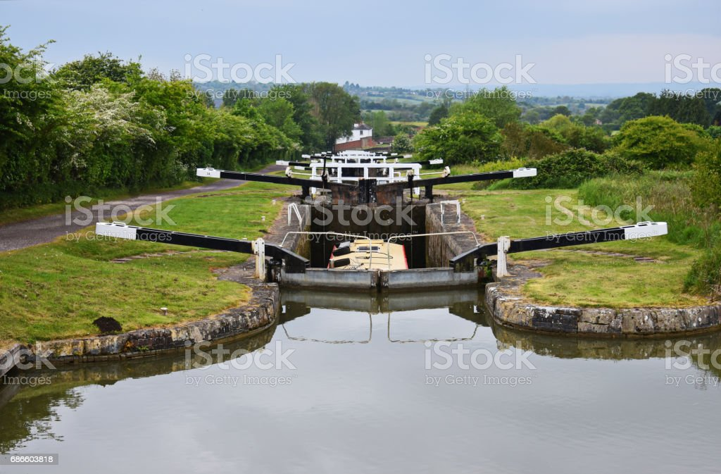canal lock gate royalty-free stock photo