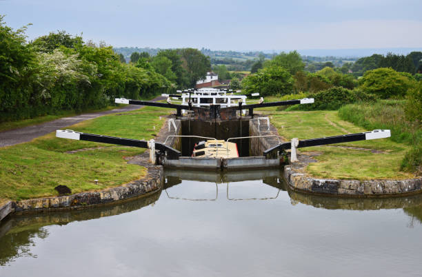 canal lock gate - caen stock pictures, royalty-free photos & images