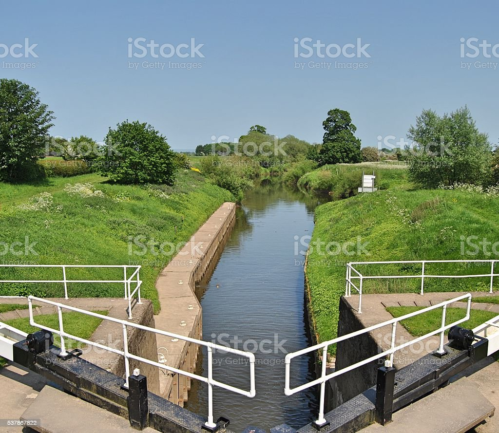 Canal Lock on River Ure stock photo