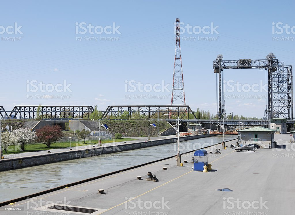 Canal lock on St-Lawrence river,Canada stock photo