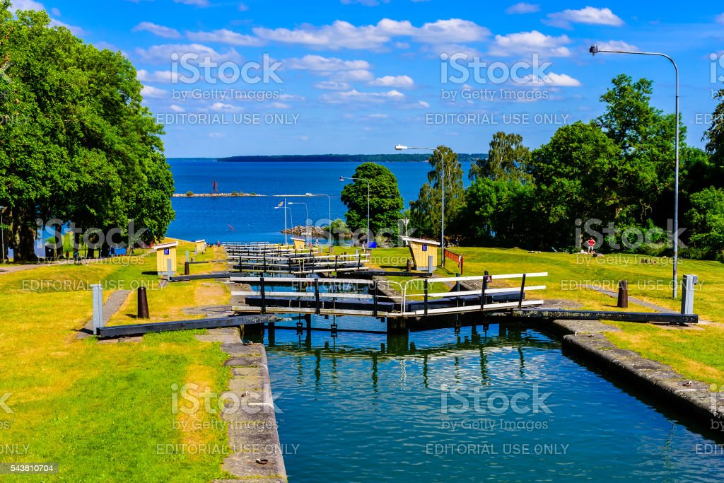 Canal lock steps stock photo